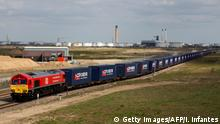 10.04.2017 A freight train transporting containers laden with goods from the UK, departs from DP World London Gateway's rail freight depot in Corringham, east of London, on April 10, 2017, enroute to Yiwu in the eastern Chinese province of Zhejiang. The first-ever freight train from Britain to China started its mammoth journey on Monday along a modern-day Silk Road trade route as Britain eyes new opportunities after it leaves the European Union. The 32-container train, around 600 metres (656 yards) long, left the vast London Gateway container port laden with whisky, soft drinks and baby products, bound for Yiwu on the east coast of China. / AFP PHOTO / Isabel Infantes (Photo credit should read ISABEL INFANTES/AFP/Getty Images)