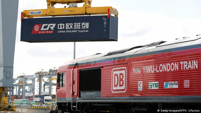 China Railway Express containers loaded onto the train as it is prepared ahead of departure from a depot in Corringham, east of London, on April 10.