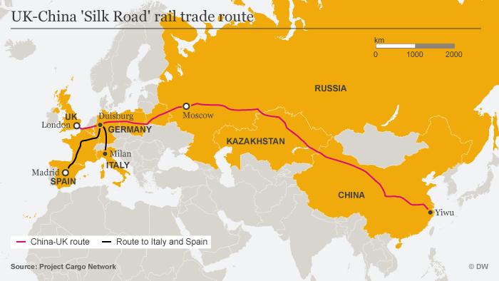 Infografik Karte 12.000 Kilometer auf der Schiene ENG UK-China Frachtzug