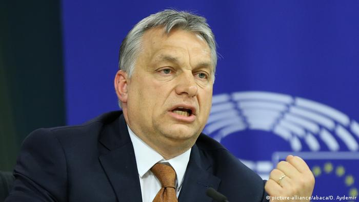 Hungary's Prime Minister Viktor Orban gives a speech during a press conference in Brussels