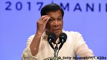 Philippines' President Rodrigo Duterte speaks during a press conference at the end of Association of Souteast Asian Nations (ASEAN) leaders' summit in Manila on April 29, 2017. Duterte warned Southeast Asian leaders on April 29 they were facing a massive illegal drug menace that could destroy their societies, as he called for a united response. / AFP PHOTO / Ted ALJIBE (Photo credit should read TED ALJIBE/AFP/Getty Images)