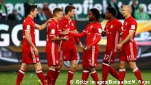 WOLFSBURG, GERMANY - APRIL 29: Thomas Mueller (C) of Muenchen celebrate with his team mates after scoring the 5th goal the Bundesliga match between VfL Wolfsburg and Bayern Muenchen at Volkswagen Arena on April 29, 2017 in Wolfsburg, Germany. (Photo by Martin Rose/Bongarts/Getty Images)
