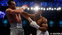 Anthony Joshua in action with Wladimir Klitschko (REUTERS)