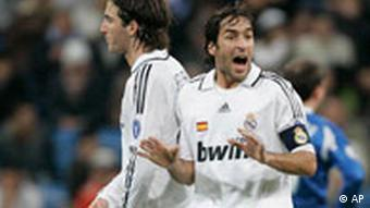 Real Madrid's Raul Gonzalez gestures after scoring against Zenit St. Petersburg during their Champions League soccer match at the Santiago Bernabeu stadium in Madrid, on Wednesday, Dec. 10, 2008.