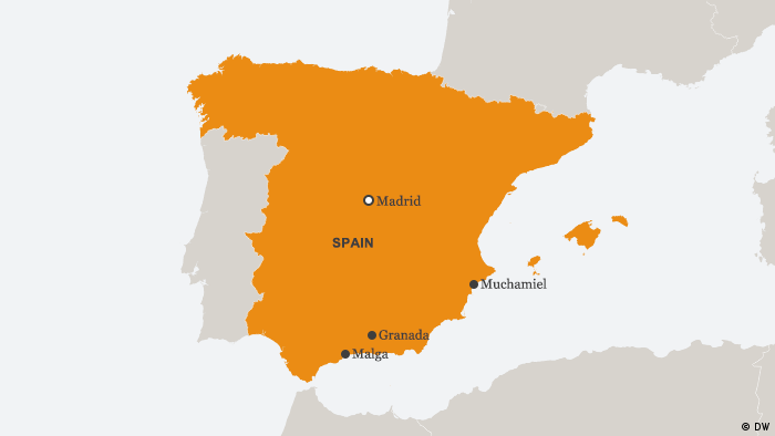 Karte Spanien Malaga Granada Muchamiel ENG (DW)