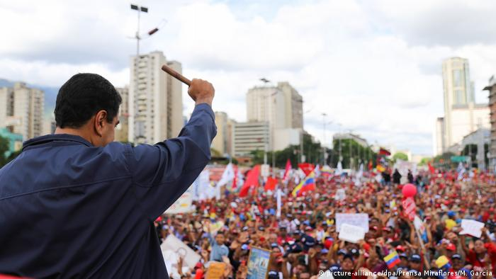 Venezuela's President Nicolas Maduro standing in front of a crowd of supporters Marcelo Garcia/Prensa Miraflores/dpa