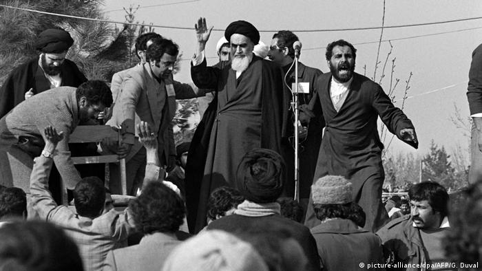Ayatollah Khomeini on the day of his return to Tehran from French exile in February 1979