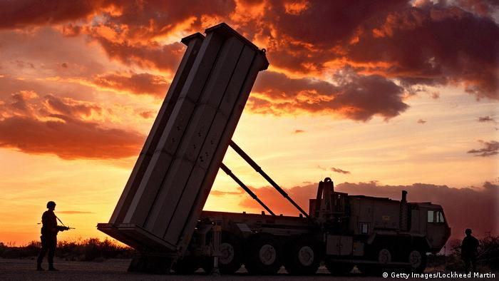 A THAAD rocket launcher