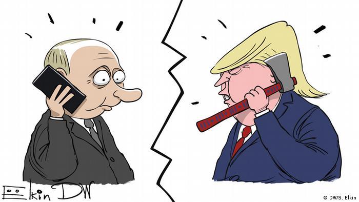 Путин с телефоном у уха и Трамп с топором говорят друг с другом
