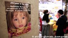 SPANIEN, PALMA DE MALLORCA, 20.10.2007, Vermisstenanzeige der kleinen Madeleine McCann auf dem Flughafen von Palma de Mallorca. | Keine Weitergabe an Wiederverkäufer.