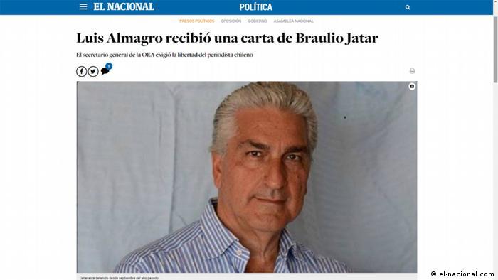 """El periodista chileno-venezolano Braulio Jatar, editor del portal Reporte Confidencial, fue detenido el 3 de septiembre de 2016 por presunta legitimación de capitales. Se cree empero, que su aprehensión se debe a que fue uno de los primeros en dar a conocer el cacerolazo a Nicolás Maduro en Villa Rosa, Nueva Esparta. """"Braulio Jatar lleva 8 meses preso por informar, dijo su hermana Ana Julia."""