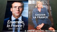 Frankreich Wahlplakate Macron und Le Pen 2. Runde