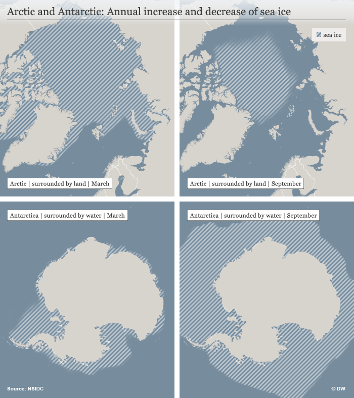 Infografik Arctic and Antarctic: Annual increase and decrease of sea ice ENG