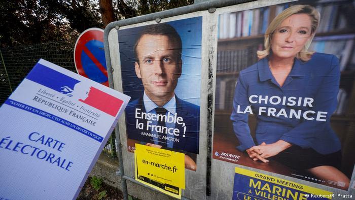 Frankreich präsidentschaftswahl Plakte Macron Le Pen (Reuters/R. Pratta)