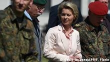 03.05.2017 *** German Defence Minister Ursula von der Leyen (C) speaks with Inspector General of the German armed forces Bundeswehr Volker Wieker (R) and Inspector Heer General Joerg Vollmeer (L) during a visit at military facilities of the 291st Jagerbataillon on May 3, 2017 in Illkirch-Graffenstaden, eastern France. / AFP PHOTO / FREDERICK FLORIN (Photo credit should read FREDERICK FLORIN/AFP/Getty Images)