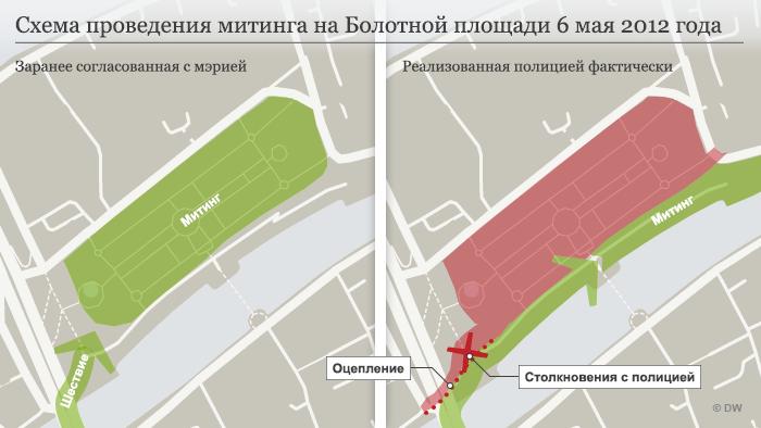 Схема проведения митинга 6 мая 2012 года на Болотной площади