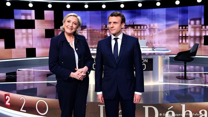 Frankreich Wahl TV-Debatte - Marine Le Pen & Emmanuel Macron (Getty Images/AFP/E. Feferberg)
