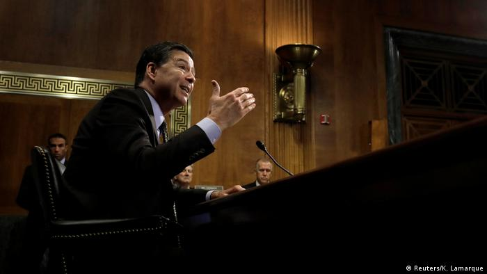 Then-FBI Director James Comey speaking before a Senate Judiciary Committee