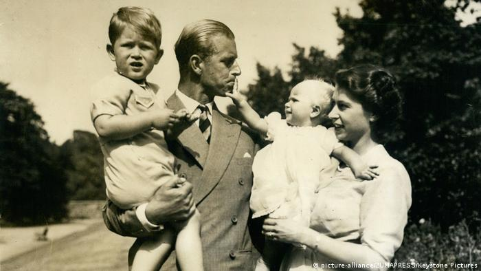 Princess Elizabeth, with her husband The Duke of Edinburgh and their children, Prince Charles and Princess Anne in 1950