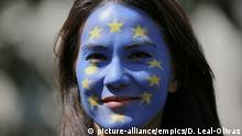 EU referendum. A Remain supporter with the European Union flag painted on her face in Parliament Square, London, during the March for Europe rally to show support for the European Union in the wake of Brexit. Picture date: Saturday July 2, 2016. See PA story POLITICS Protest. Photo credit should read: Daniel Leal-Olivas/PA Wire URN:26772438 |