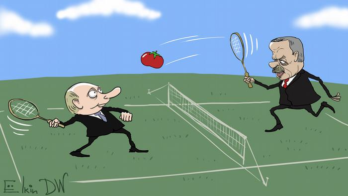 A caricature of Putin and Erdogan playing tennis with a tomato (Sergey Elkin)