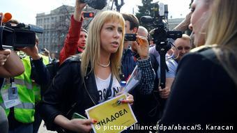Мария Баронова на митинге