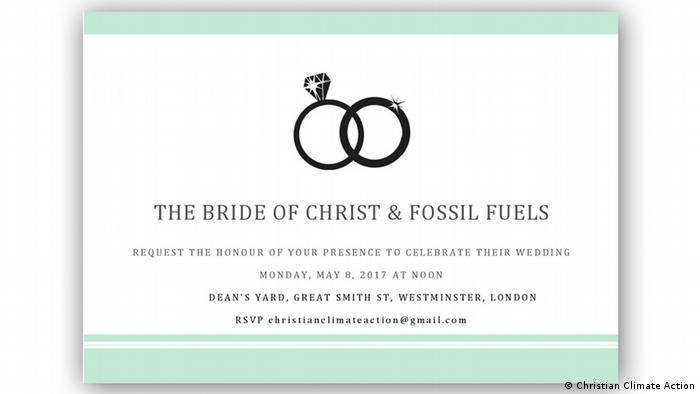 Invitation to the wedding between the Church of England and fossil fuels (Christian Climate Action)