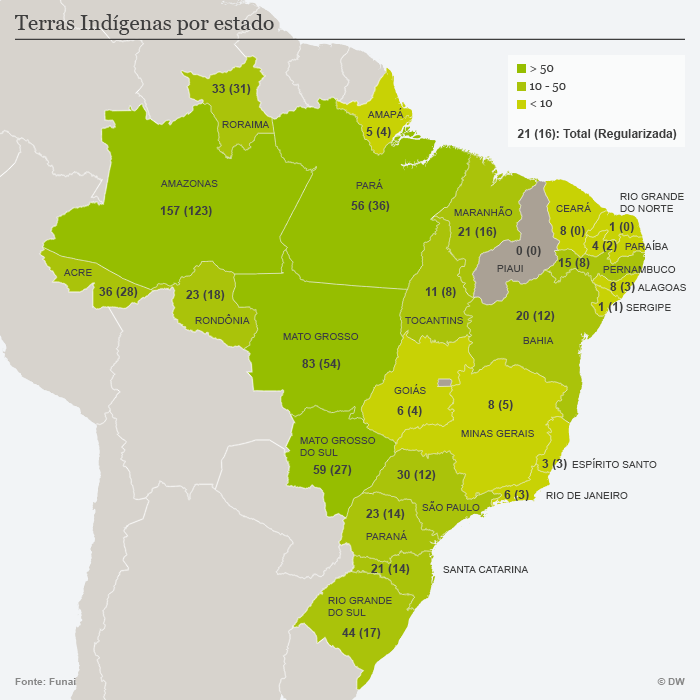 Terras indígenas por estado no Brasil