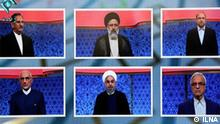 The pictures show iran presidential election's candidates in TV Duell.