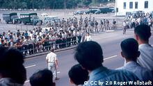 Confrontation between the Hong Kong Police and rioters in Hong Kong, 1967.