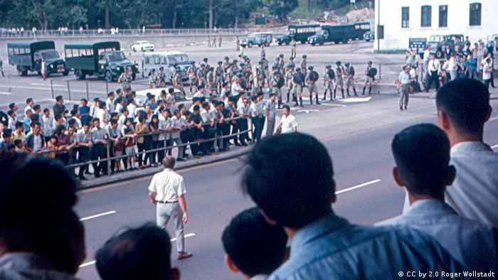 Confrontation between the Hong Kong Police and rioters in Hong Kong, 1967.