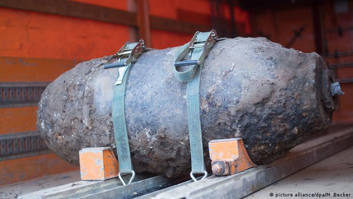 An aerial bomb discovered near a Cologne train station in 2016