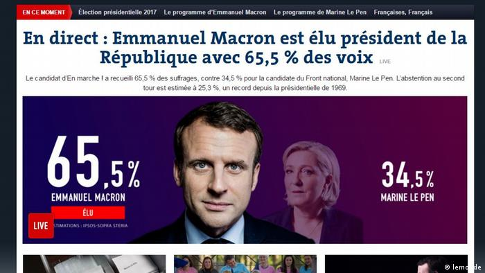 Screenshot le monde Hochrechnung Präsidentenwahl in Frankreich (lemonde)