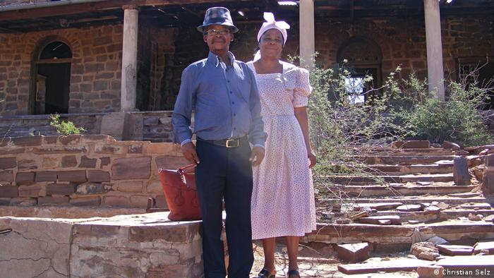 Johannes Matroos and his assistant Francisca Witbooi