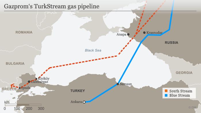 Infografik Karte Gazprom Turkish Stream englisch