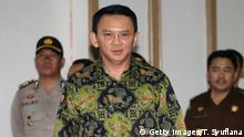 Jakarta's Governor Basuki Tjahaja Purname, also known as Ahok, arrives for his court hearing in Jakarta on April 20, 2017. The first Christian to govern the capital in more than 50 years, Purnama is on trial accused of blasphemy over remarks he made about the Koran. / AFP PHOTO / POOL / Tatan Syuflana (Photo credit should read TATAN SYUFLANA/AFP/Getty Images)