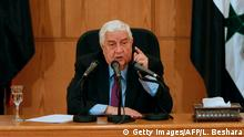 Syrian Foreign Minister Walid Muallem speaks during a press conference in the capital Damascus on May 8, 2017. Syrian rebels and their families began evacuating from a district of Damascus for the first time, bringing the government closer to recapturing all of the capital. / AFP PHOTO / Louai Beshara (Photo credit should read LOUAI BESHARA/AFP/Getty Images)