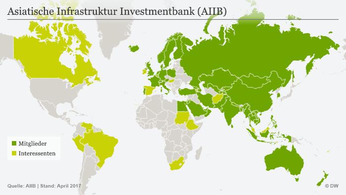 Infografik Karte Asiatische Infrastruktur Investmentbank (AIIB)