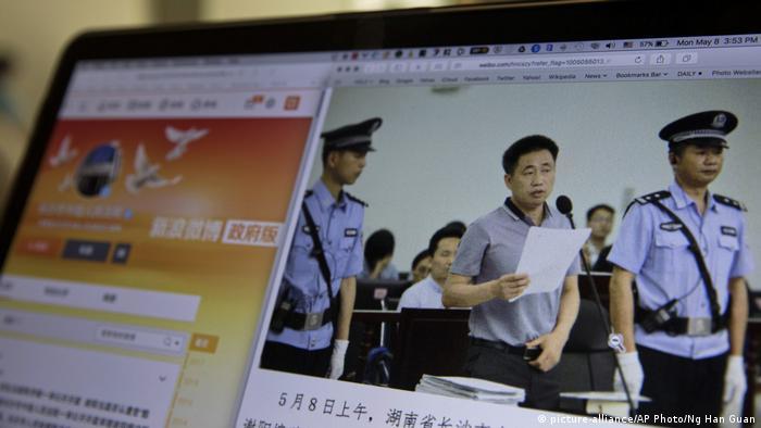Ein von dem Gericht in Changsha im Internet veröffentlichtes Bild zeigt Xie Yang im Gerichtssaal (Archivbild)