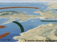 Trajetória  da batalha: movimentação da tropa grega (verde) e persa (vermelho)