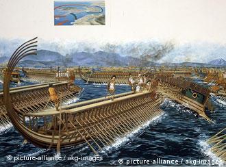 Die Griechen unter Themistokles besiegen die persische Flotte unter Xerxes