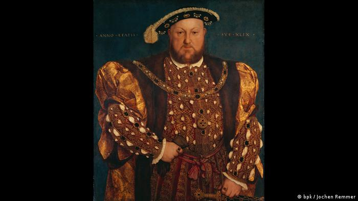 Painted portrait of Henry VIII wearing red and gold regalia