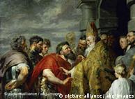 El santo Ambrosius y el emperador Theodosius, pintura de Rubens.