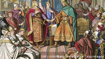 Верденский договор, заключенный 11 августа 843 года. Гравюра на дереве. Карл Шуриг (1818-1874)