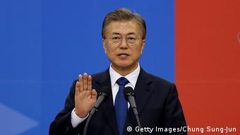 South Korean President Moon Jae-In calls for rare talks with North
