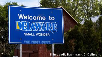 USA Schild Welcome to Delaware (Imago/B. Bachmann/D. Delimont)