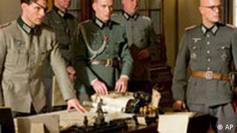Scene from film Valkrie depicting Nazi officers plotting to assassinate Hitler
