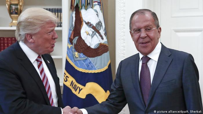 President Donald Trump (L) of the US and Russia's Foreign Minister Sergei Lavrov in the Oval Office at the White House on May 10.