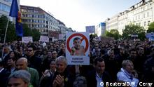 10.05.2017 *** Demonstrators attend a protest rally against Czech Finance Minister Andrej Babis and President Milos Zeman in Prague, Czech Republic May 10, 2017. The placard reads: Tax frauds. REUTERS/David W Cerny TEMPLATE OUT