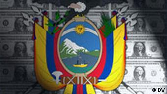 Ecuador's flag with dollar notes in the background